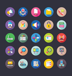 flat design icons of network communications vector image