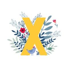 Floral alphabet letter x vector