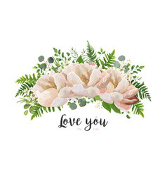 Flower bouquet design element with peach peonies vector