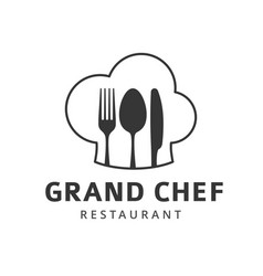 food logo with fork knife and spoon vector image