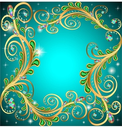 frame with jewels and geometric designs in gold vector image vector image