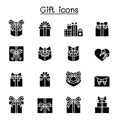 Gift box present icon set vector