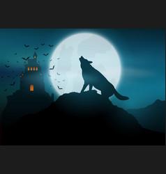 Halloween background with wolf howling at the moon vector