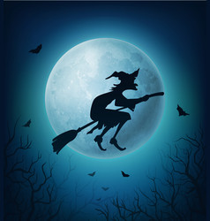 Halloween witch on broom with bats against moon vector
