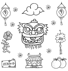 Hand draw Chinese decoration of doodles vector