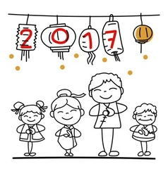 hand drawn cartoon Chinese people Chinese new year vector image