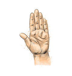 Hand gesture making stop gesture from a splash of vector