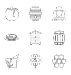 Honey icons set outline style vector