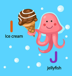 Isolated alphabet letter i-ice cream j-jellyfish vector