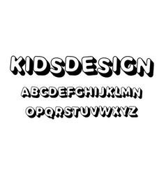kids letters set cartoon style alphabet vector image