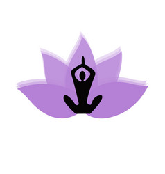 lotus flower and yoga silhouette icon vector image