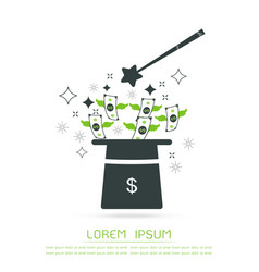 Magic hat and money isolated object vector