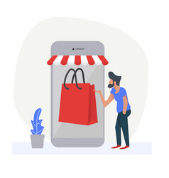man using smartphone with shop online vector image