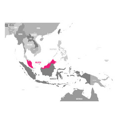 Map of laos pink highlighted in southeast vector