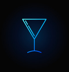 Martini glass blue icon vector