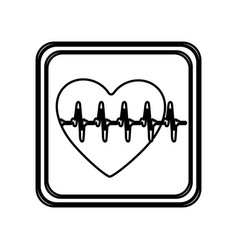 Monochrome contour of button with heart vital sign vector