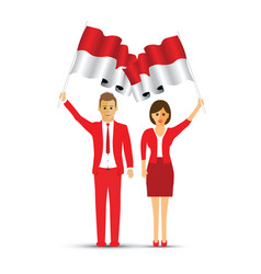 netherlands flag waving man and woman vector image