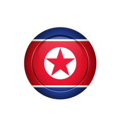 north korean flag on the round button vector image