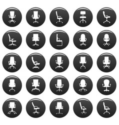 office chair icons set vetor black vector image
