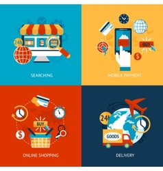 Online shopping flat set vector