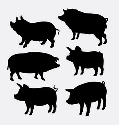 pig farm mammal animal silhouette vector image