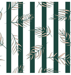 Pink tropical palm leaves on stripes vector