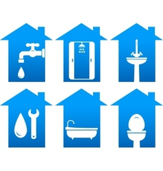 plumbing set of bathroom icons vector image