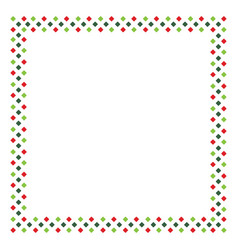 Red and green rhombus frame border in shape of vector