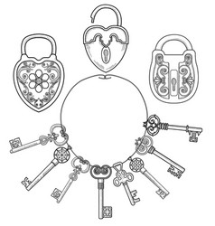 retro locks and keys vector image