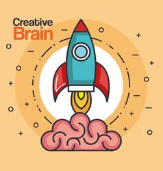 Rocket launch creative brain idea innovation vector