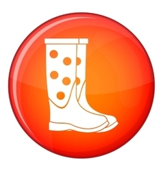 Rubber boots icon flat style vector
