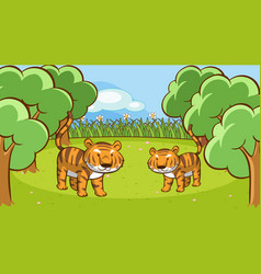 Scene with two tigers in forest vector