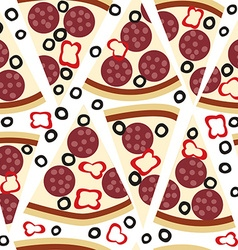 Seamless pattern with slices of salami pizza vector