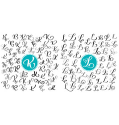Set letters k l hand drawn flourish vector