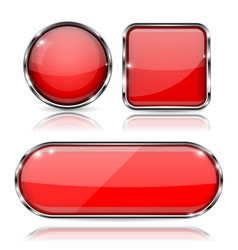 set of 3d red glass buttons with metal frame vector image