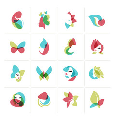 set of flat design icons for beauty vector image