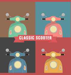 set of four front scooters design vector image
