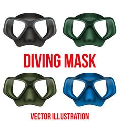 Set underwater diving scuba mask vector