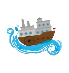 Ship boat travel icon vector
