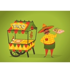 Shopkeeper sells tacos on the street Mexican food vector