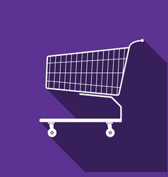 shopping cart icon with long shadow vector image