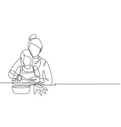 Single continuous line drawing mother teaching vector