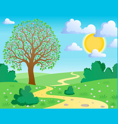 spring theme landscape 1 vector image