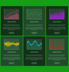 Statistics plots and analytics graphs cards vector