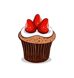 Strawberry Cupcake With Cream vector image