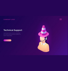 technical support or online assistant isometric vector image