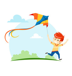 the boy runs and launches a kite into the sky vector image