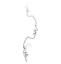three face one line vector image