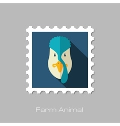 Turkey flat stamp Animal head vector image vector image
