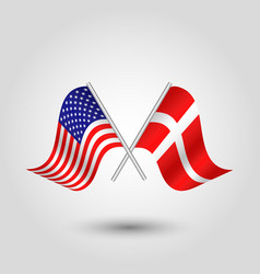 Two crossed american and danish flags on stick vector